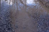 Spring Has Come, Snow Is Melting And A Huge Puddle Has Formed On The Road. Snow Puddle, Spring Tide, poster