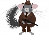 Gangster Chinchilla.mafia Rodent Dressed In Retro Style, Vintage Look. poster