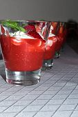 Delicious Strawberry Dessert With Sweet Cottage Cheese Cream, Homemade. Fresh Dessert In Glass. Birt poster