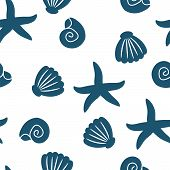 Seamless Pattern Of Seashells And Starfishes. Marine Background. Perfect For Invitations, Greeting C poster