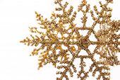 Gold Glitter Snowflake Ornaments