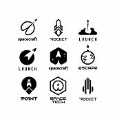 Space Flying Rockets, Launching Shuttles, Spaceship, Aviation Vector Logos Isolated. Space Ship Ands poster