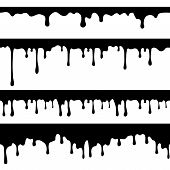 Paint Dripping, Black Liquid Or Melted Chocolate Drips Seamless Vector Currents Isolated. Drip Splas poster