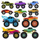 Monster Truck Vector Cartoon Vehicle Or Car And Extreme Transport Illustration Set Of Heavy Monstert poster