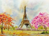 Paris European City Famous Landmark Of The World. France Eiffel Tower And Flower Pink, Red Color, Ch poster