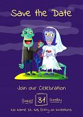 Zombie Party Poster With Married Zombie Couple In Cemetery. Halloween Holiday Advertising With Funny poster