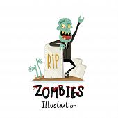 Zombie Character Near Rip Gravestone In Cartoon Style. Halloween Undead Banner, Horror Monster Perso poster