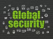 Security Concept: Painted Green Text Global Security On Black Brick Wall Background With  Hand Drawn poster