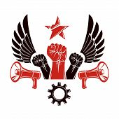 Raised Clenched Fists Vector Illustration Composed With Loudspeakers Equipment And Engineering Cog W poster