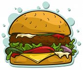 Cartoon Tasty Big Hamburger With Cheese And Sesame Seeds Isolated On White Background. Vector Sticke poster