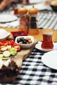 Traditional Turkish Breakfast Plates With Various Small Dishes, Breakfast With Tea poster