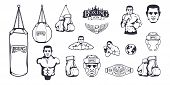 Set Of Different Elements For Box Design - Boxing Helmet, Punching Bag, Boxing Gloves, Boxing Belt,  poster