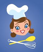 Happy chef woman with kitchen tools