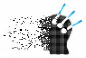 Dispersed Neural Interface Dot Vector Icon With Destruction Effect. Square Particles Are Organized I poster