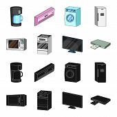 Home Appliances And Equipment Black, Cartoon Icons In Set Collection For Design.modern Household App poster