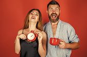 Good Morning. Refreshment And Energy, Time. Man And Girl With Mulled Wine On Red. Perfect Morning Wi poster