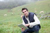 Criador usando tablet eletrônico no campo