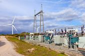 Collector Substation for a wind farm. Connected with the wind power turbine generators. Terras Altas poster