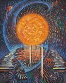 Abstract Painting On The Theme: Energy Of The Sun. Painting: Canvas, Oil. Concept: The Powerful Ener poster