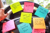 Steering wheel covered in notes as a reminder of errands to do poster