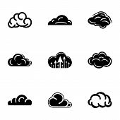 Cloudiness Icons Set. Simple Set Of 9 Cloudiness Vector Icons For Web Isolated On White Background poster