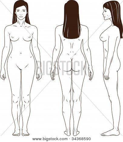 Picture or Photo of Full length front, back, side view of a standing naked woman. You can use this image for fashion design and etc.