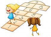 foto of hopscotch  - Illustration of kids playing hopscotch - JPG