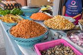 Ingredients for Pad Thai, a popular thai street food on the market stall in Thailand poster