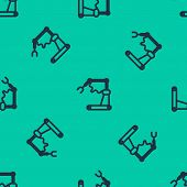 Blue Line Industrial Machine Robotic Robot Arm Hand Factory Icon Isolated Seamless Pattern On Green  poster