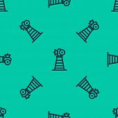 Blue Line Antenna Icon Isolated Seamless Pattern On Green Background. Radio Antenna Wireless. Techno poster