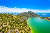 Croatia, Adriatic Seascape, Aerial View Of The Salty Green Lake In Nature Park Telascica, Croatia, D poster
