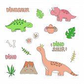 Prehistoric Dinosaur Vector Illustration Set. Hand Drawn Dinosaurs, Volcano, Plants, Eggs, Fossils A poster
