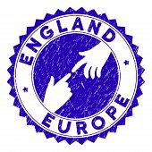 Connecting England Europe Stamp Seal. Blue Vector Rounded Grunge Seal Stamp With Connecting Hands Fo poster
