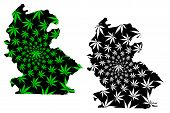 Centre-ouest Region (regions Of Burkina Faso, Burkina Faso) Map Is Designed Cannabis Leaf Green And  poster
