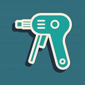 Green Electric Hot Glue Gun Icon Isolated On Blue Background. Hot Pistol Glue. Hot Repair Work Appli poster