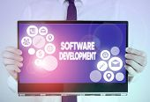Writing Note Showing Software Development. Business Photo Showcasing Software Is Created Using A Spe poster