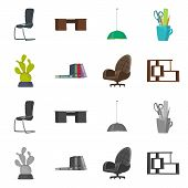 Vector Design Of Furniture And Work Icon. Set Of Furniture And Home Vector Icon For Stock. poster