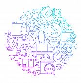 Modern Linear Concept Of Internet Marketing In Circle With Thin Line Icons. Internet Marketing. Seo. poster