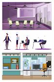 Set Of Office Employees During Work. Flat Vector Illustrations Of People Working, Searching Ways To  poster