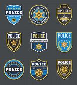 Police Labels. Policeman Law Enforcement Badges. Sheriff, Marshal And Ranger Logo, Police Star Medal poster