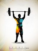 pic of weight lifter  - Silhouette of a weight lifter with heavy weight on abstract grunge background - JPG