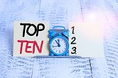 Text Sign Showing Top Ten. Conceptual Photo The Ten Most Popular Songs Or Recordings In The Popular  poster