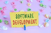 Handwriting Text Writing Software Development. Concept Meaning Software Is Created Using A Specific  poster