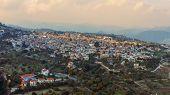 Aerial Panorama Of Old Village Pano Lefkara. Famous Landmark Of Valley Pano Lefkara Village, Larnaca poster