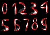 picture of arabic numerals  - illustration with red drops Arabic numerals isolated on black background - JPG