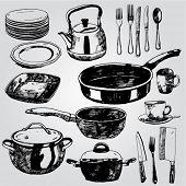 Hand drawn Illustration of Dishware