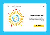 Vector Icon Of Colorful Firework. Party, Holiday, Celebration. Carnival Concept. Can Be Used For Top poster
