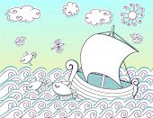 Sailing the Seas, Doodle - cutout boat, ocean waves, fish, clouds, sun, dragonfly and bugs in a sketchy doodle vector illustration similar to stage background and decoration
