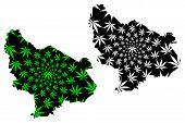 Est Region (regions Of Burkina Faso, Burkina Faso) Map Is Designed Cannabis Leaf Green And Black, Es poster