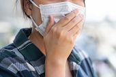 Woman Wearing Face Mask Protect Filter Against Air Pollution (pm2.5) Or Wear N95 Mask. Protect Pollu poster